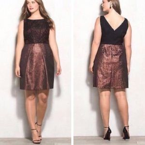 LOVELY BY ADRIANNA PAPELL Jacquard Metallic Dress